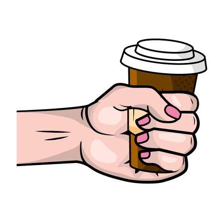 hand holding a coffee paper cup Ilustração