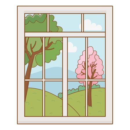 Home window and landscape design vector illustrator