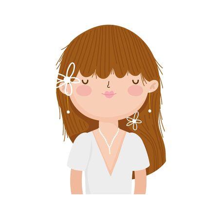 wedding bride woman elegant dress cartoon character portrait vector illustration