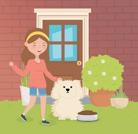 happy girl with her dog with food bowl pet care vector illustration