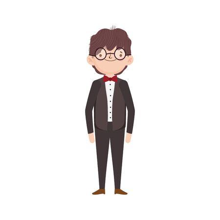 wedding groom man cartoon character in suit vector illustration