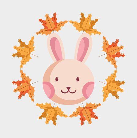 rabbit face foliage leaves hello autumn design icon vector illustration Stock Illustratie