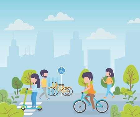 urban ecology people with bike electric scooter walking in the street city vector illustration  イラスト・ベクター素材