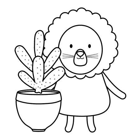 cute lion with exotic cactus in ceramic pot vector illustration design