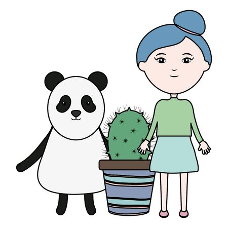 cute bear panda and girl with exotic cactus in ceramic pot vector illustration design Illusztráció