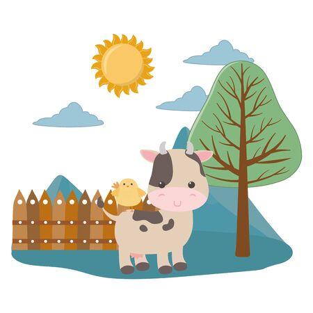Cow and chicken cartoon design, Animal cute zoo life nature and fauna theme Vector illustration Illusztráció