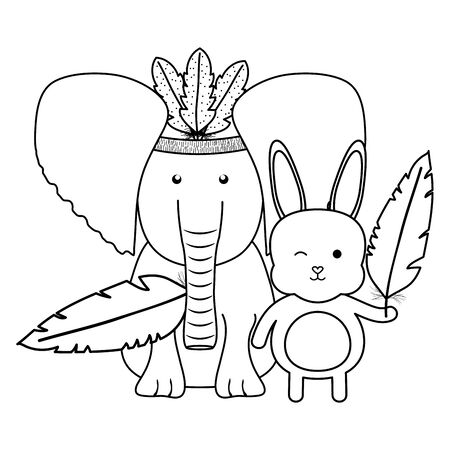 elephant and rabbit with feathers hat bohemian style