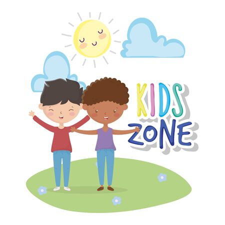 kids zone, cute little boys holding hands in the outdoors vector illustration Ilustracja