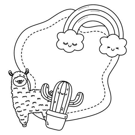Llama and cactus cartoon design, Kawaii expression cute character funny and emoticon theme Vector illustration
