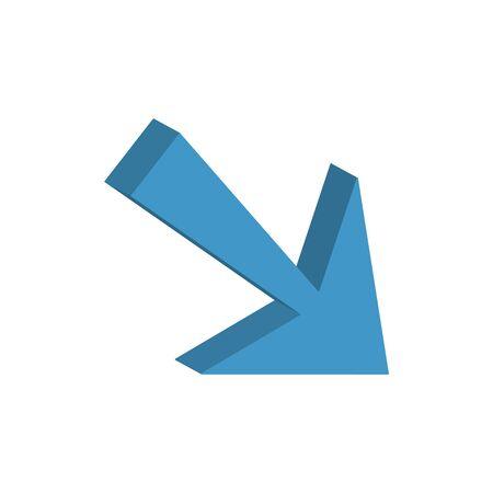 arrow down 3d style icon vector illustration design