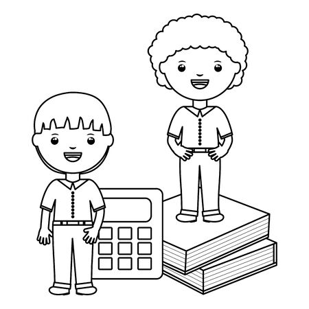 cute little students boys with books and calculator vector illustration design 일러스트