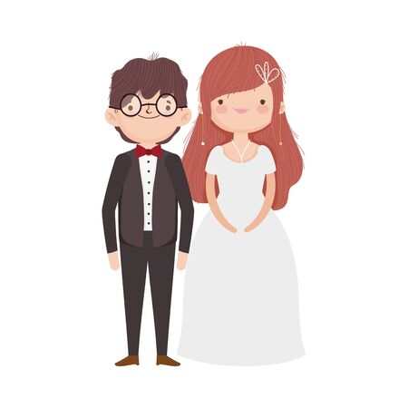 wedding couple, bride and groom in elegant suits cartoon vector illustration Ilustracja