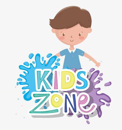 kids zone, cute little boy splashes color paint Banque d'images - 134873961