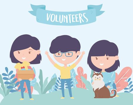 volunteering, help charity people donation protection animal vector illustration Illustration