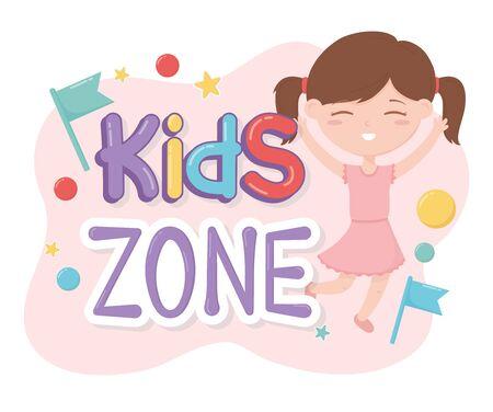 kids zone, happy little girl with pink dress Ilustracja