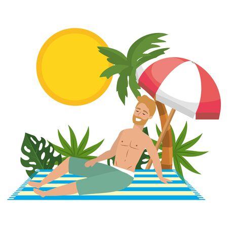 Boy with summer swimwear design Standard-Bild - 134874000