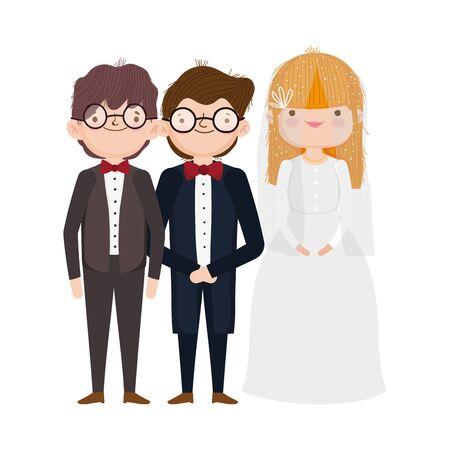 wedding bride and grooms cartoon characters elegant suits vector illustration