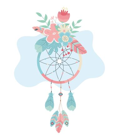 dream catcher hanging with flowers boho style vector illustration design