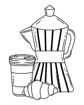 Coffee maker and glass vector design Illusztráció