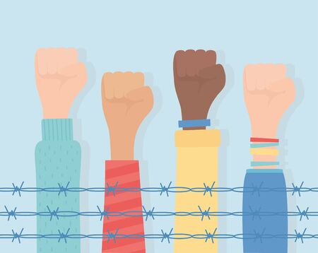 human rights, raised hands diversity behind barbed wire vector illustration 向量圖像