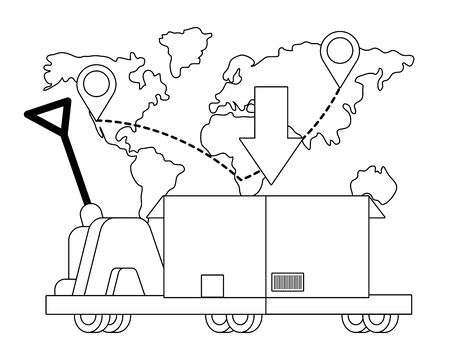 pushcart carrying a box with download arrow and map with location pointer vector illustration graphic design