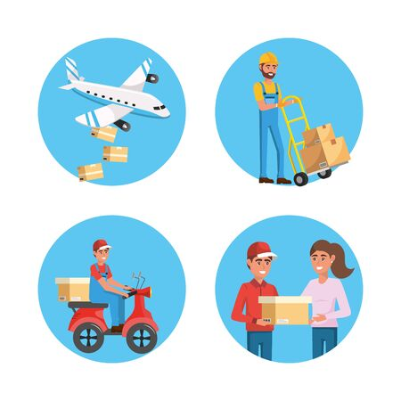 set of delivery men and distribution transport service to packages