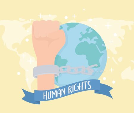 human rights, hand with handcuffs and chain world banner