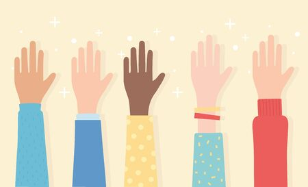 human rights, raised hands multicultural ethnic vector illustration