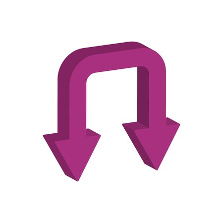 arrows down 3d style icon vector illustration design