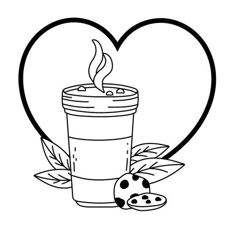 Iced coffee glass and cookie vector design