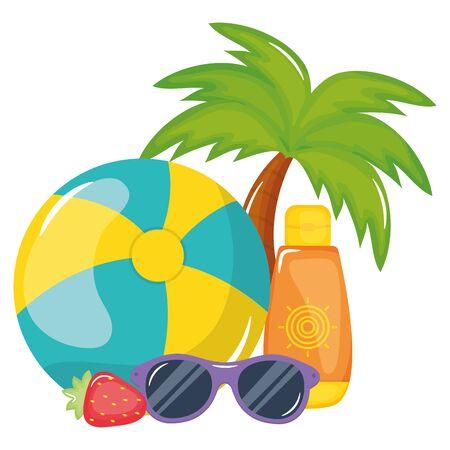 beach balloon with solar blocker and sunglasses vector illustration design