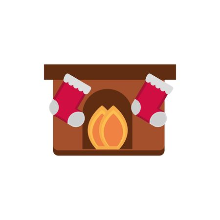 chimney stockings decoration happy christmas icon vector illustration