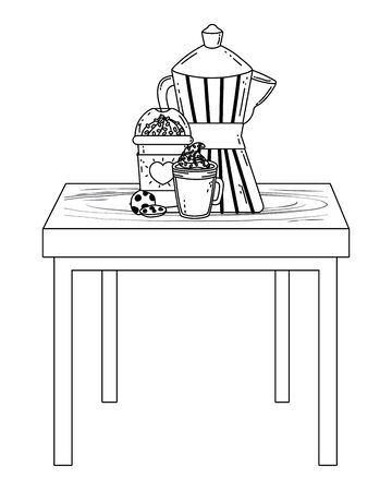Isolated coffee maker and mug vector design