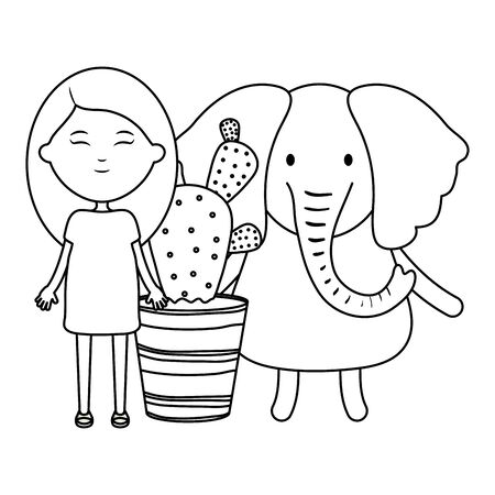 cute elephant and girl with exotic cactus in ceramic pot