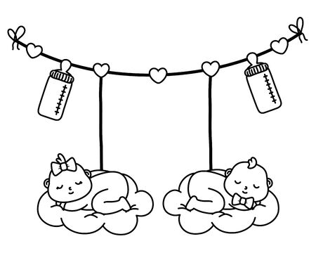 baby sleeping on a cloud hanging from clothesline rope with feeding bottle vector illustration graphic design