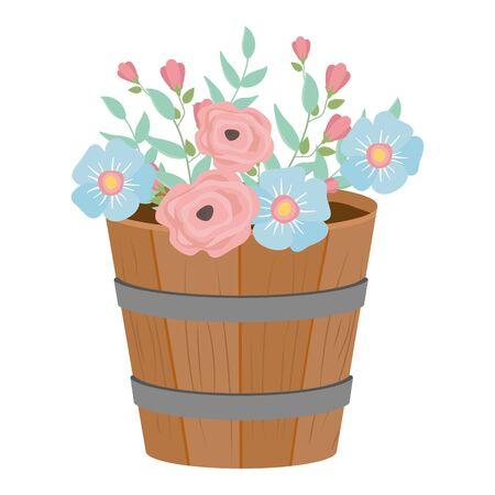 Flowers and leaves inside barrel design, floral nature plant ornament garden decoration and botany theme Vector illustration Stock Illustratie