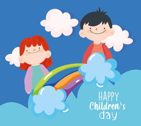 happy children day, cute little boys rainbow clouds sky 向量圖像