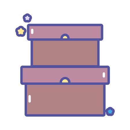 back to school education cardboard boxes storage vector illustration