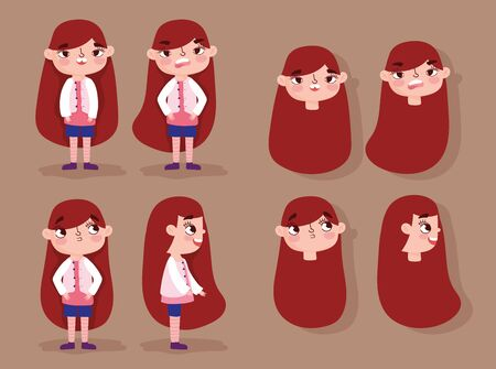 cartoon character animation girl faces with gestures and different posture bodies vector illustration