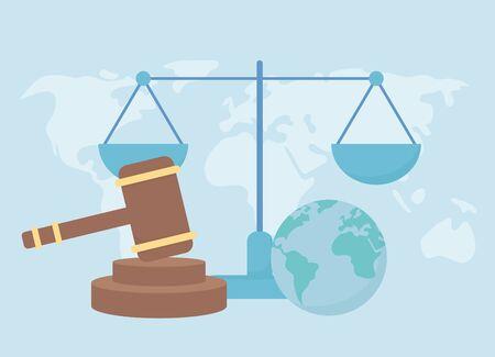 human rights, world hammer law balance justice Illusztráció