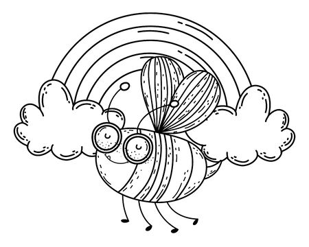 Isolated bee draw cartoon design Illustration