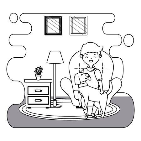 Boy with dog cartoon design, Mascot pet animal nature cute and puppy theme Vector illustration Ilustracja