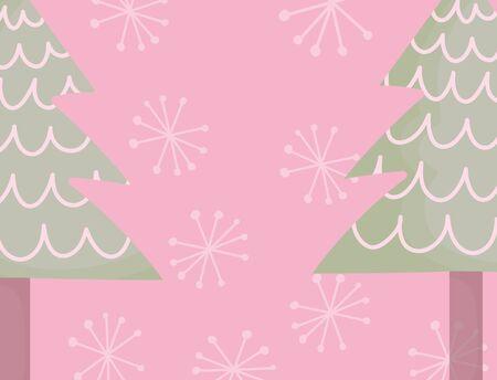 trees snowflakes celebration merry christmas Illusztráció