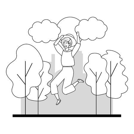 Woman jumping in the park design Illusztráció
