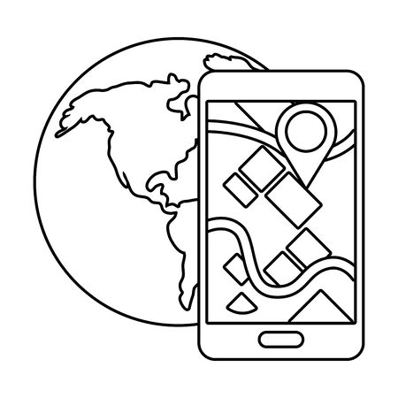 cellphone with globe in black and white