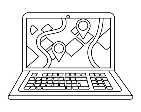 laptop showing map in black and white