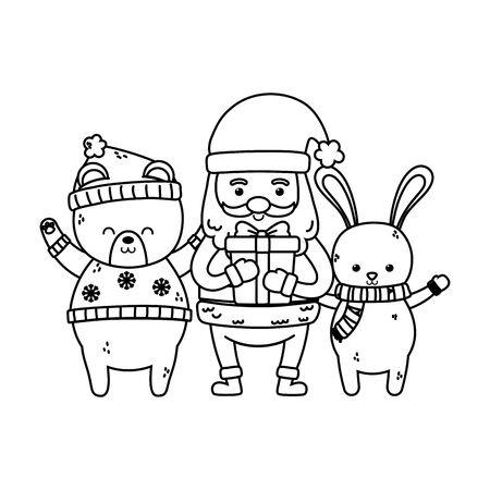 cute santa with gift and rabbit bear merry christmas thick line Illusztráció