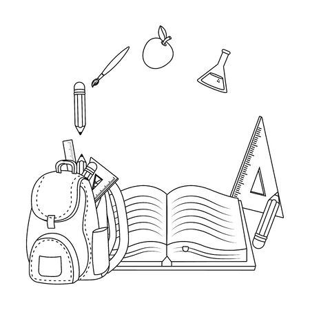 Isolated icon set of school design vector illustration Illustration
