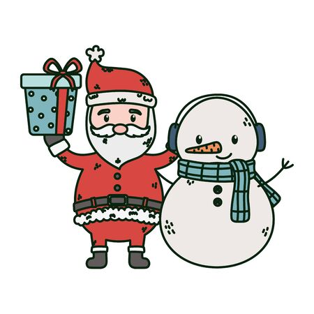santa and snowman with gift celebration merry christmas