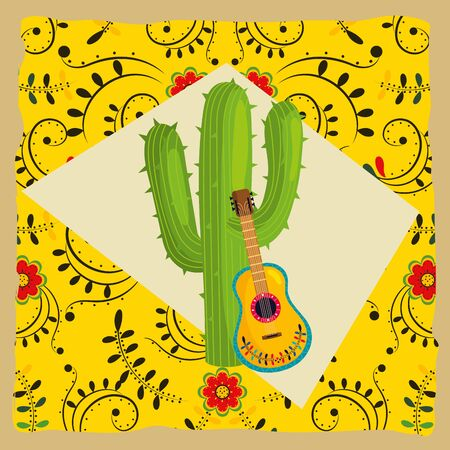 mexican culture festival cactus with guitar instrument cartoon vector illustration graphic design